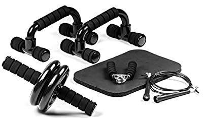 Yoga EVO Abdominal Trainer Kit: Ab Roller Wheel + Knee Pad + Push Up Bars + Jump Rope + Hand Gripper