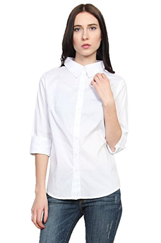 TheMogan Women's Slim Fit 3/4 Sleeve Button Down Woven Shirts White S (Shirt White Woven Sleeve)