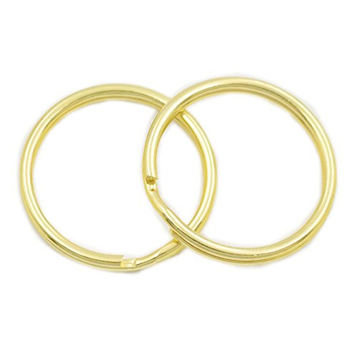100 Pcs KeyChain Ring Keyring Connector Round Edged Split Buckle Gold 1