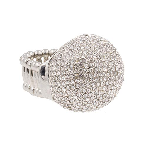 Lavencious Snowball Rhinestone Cocktail Stretch Ring Party Ring for Women Free Sizes for 6 to 10 (Silver) -