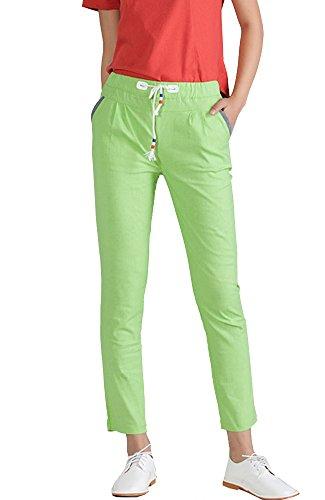Apple Pocket Skinny Jean (Sheicon Women Linen Cotton Blend Elastic Waist Pockets Pencil Ankle Pants Color Apple green Size L)