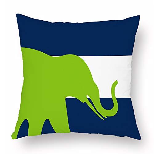 Blue Velvet Stripe - Throw Pillow Covers Geometric Stripes Abstract Elephant Vibrant Navy Blue Pea Green 18 x 18 Premium Velvet Decorative Cushion Cover Spring Fall Home Decor Hidden Zipper Closure Pillow Case Sofa Counch