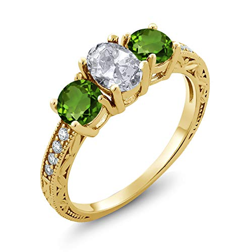 Gem Stone King 2.07 Ct White Topaz Green Chrome Diopside 18K Yellow Gold Plated Silver Ring (Size 8)