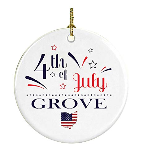 Patriotic Heart Ornament 4Th Of July Decorations For The Home Grove Ohio Independence Day Decorations Declaration of Independence America Pride Ceramic 3 inches White -