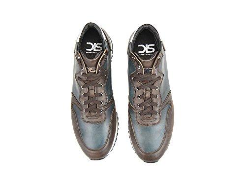 Ukendt Romano - Blå, Mørk Brun, Hochhackiges Deco Læder Deres Egne, Elegante, Stilfuld, Mørkebrune High-top Løbesko Fra Deco Læder, 100% Håndlavet I Italien