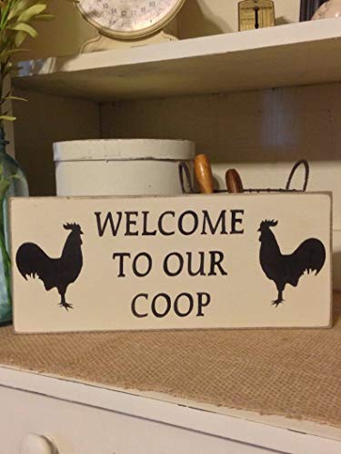 CELYCASY Welcome to Our Coop, Welcome Sign, Rooster, Rooster Sign,Kitchen Decor, Primitive Sign, Wood Sign, Welcome Sign, Farmhouse Decor