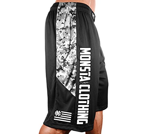 Men's Poly-Dri Digital Camo Workout Shorts Poly-Dri: MC-Crest Flag DigitalCamo-307-White (Black Digital Camo/White, Small) - Poly Workout Short