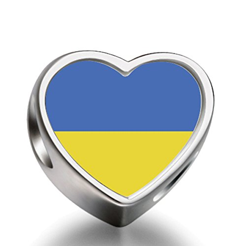 Plated Unisex Bracelets - Ukraine flag Heart Silver Plated Charms Bracelet Necklace Beads Waist Beads 6mm Hole Craft Metal Beads floating Charms for Women