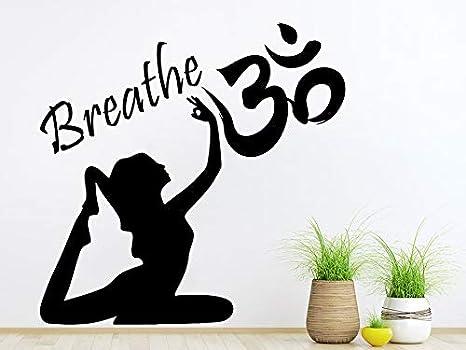 42x42 cm Buda Yoga Mujer Tatuajes de Pared Cita Respira Signo ...