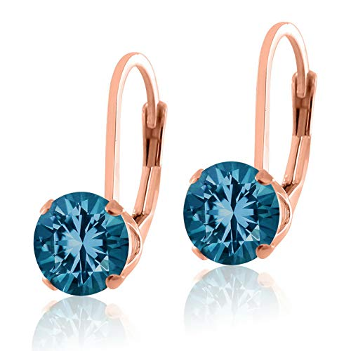 Campton Rose Gold Plated .925 Sterling Silver LeverBack Earrings Round 5mm - Many Colors   Model ERRNGS - 13724 ()