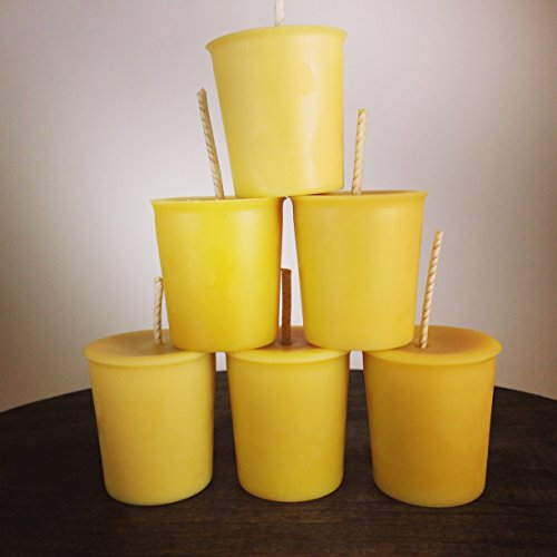 6 Handmade Natural Unscented Lead Free Cotton Wick Beeswax Votive Candles