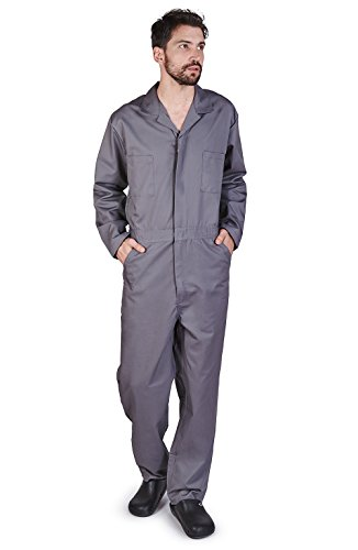 Overall Workwear Men Long Sleeve Coveralls XXL Gray (Gray Long Sleeve Coverall)