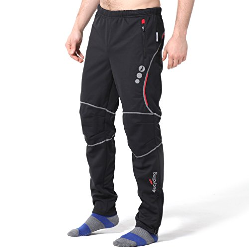 4ucycling men's sports outdoor fleeced warmer pants black (Costumes Fitness Dama)