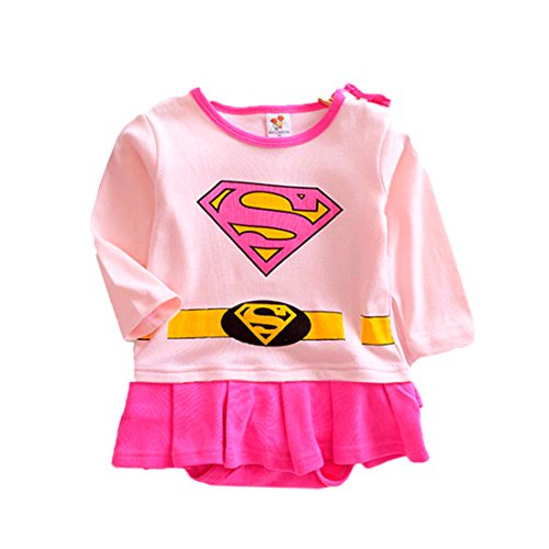 VogueFashion Baby Superhero Jumpsuit with Removable Cape and Shoes (6-12 Months, Supergirl Dress 2)