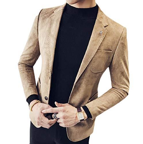 Vska Men's Original Fit Faux Suede Notched Collar Blazer Jacket Suits Khaki XL - Notched Collar Suede Blazer