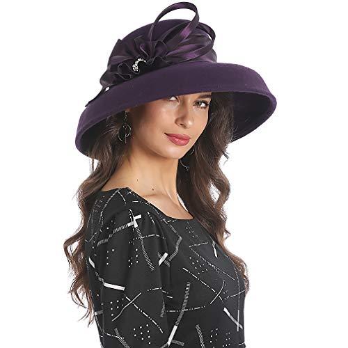 - FORBUSITE Women Wool Felt Hats Church Dress Hat for Winter Vintage Handmade Purple