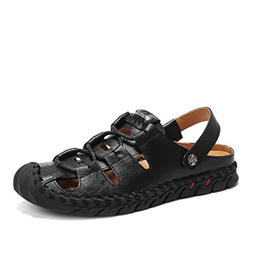 De Colisión Zapatos para EU Al Sandalias Casuales Aire Transpirables Zapatos Libre Negro 42 Negro Cuero tamaño Wangcui Hombre Sandalias Color PCq5zw7f