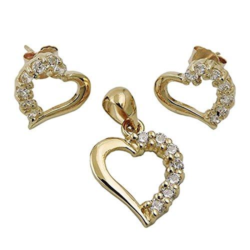 Parure de bijoux avec boucles d'oreilles et pendentif 9Kt or 375