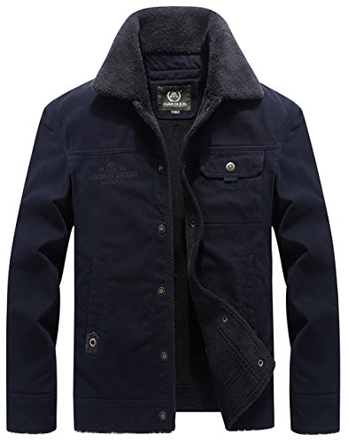 Multi Lining Jacket Winter Warm Windproof Slim Style FUNFOA Jacket Men's Navy Casual blue Military Pocket vZnUq
