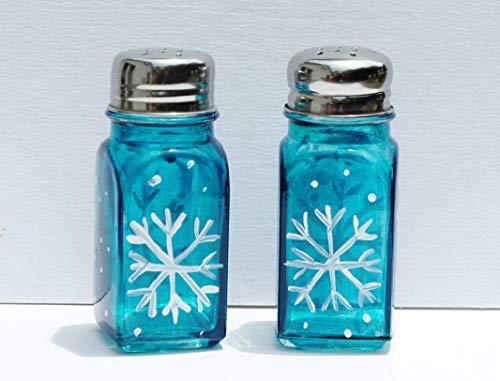 (Blue White Snowflake Hand Painted Salt & Pepper Shakers Set, Winter Kitchen Décor)