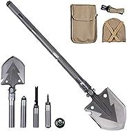 Mcgrady1xm Folding Shovel Military Camping Shovel Multi Tool Survival Shovel for Garden, Outdoor Hiking, Hunti