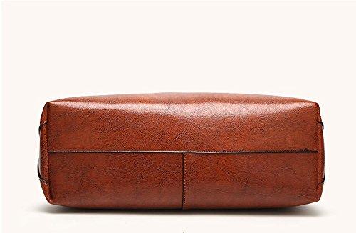 Women's Vintage Fine Fibre Genuine Leather Bag Tote Shoulder Bag Handbag Model Sie Black by CIR (Image #2)