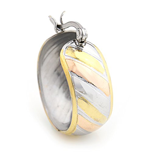 United Elegance - Spiral Striped Polished Tri-Color Silver, Gold & Rose Tone Hoop Earrings (Striped Retro) from United Elegance