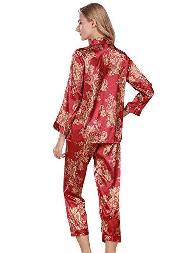 Rosso Set Due 071 Donna a Pigiama CUKKE Pigiama Corta Maniche di Classici vqRHxUw
