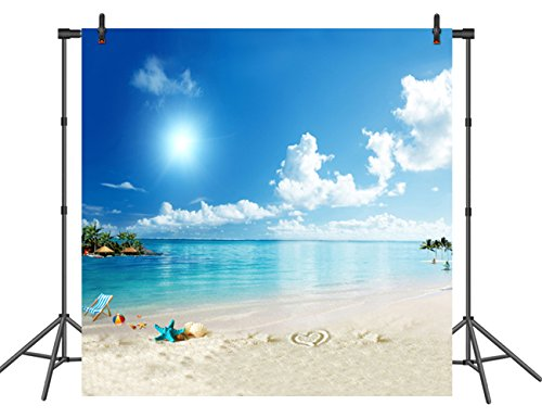 Beach Backdrop with White Clouds 8X8ft Seamless Beach Theme Backdrop for Party Beach Background with Blue Sky Studio Photography Props Summer Party Event Accessory