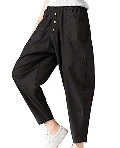 Estivi Pantaloni Donna Elegante Cintura Elastica High Waist Pantaloni Harem Monocromo Baggy Tempo Libero Festa Style Moda Accogliente Pluderhose Pantaloni Di Stoffa Ragazze Nero