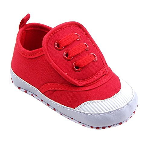 BZLine® Säugling Baby weiche Sohle Krippe Schuhe Sneaker Canvas Schuhe Rot