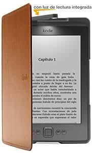 Funda de cuero con luz Amazon para Kindle, color marrón claro (sólo sirve para el Kindle)