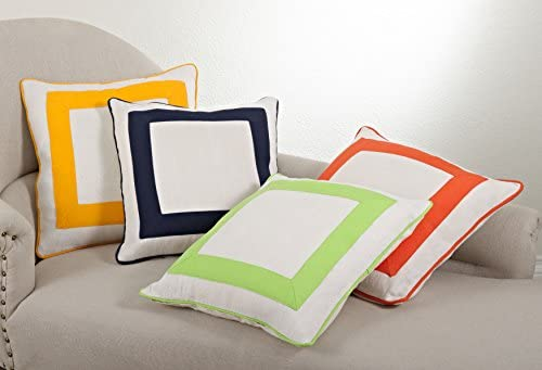 SARO LIFESTYLE 949 Crete Collection Banded Design Down Filled Throw Pillow, Lime 18 Square