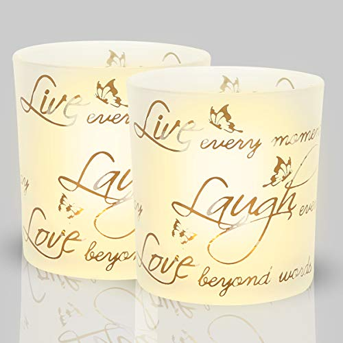 Glass Holder Tealight Frosted (lEPECQ Christmas Decorations Candle Holders, Live Laugh Love Votive Candle Holders, Frosted Glass Tealight Holders with Words of Live Laugh Love, for Home, Wedding, Parties Decor, 3.14