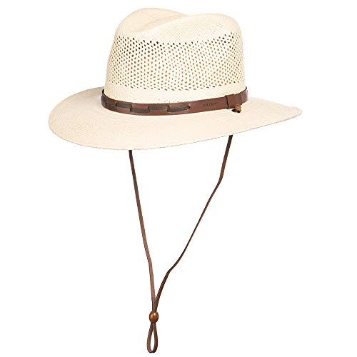 Stetson Men's Stentson Airway Vented Panama Straw Hat, Natural, Large (Straw Stetson Western Hats Mens)