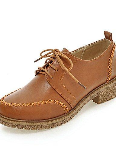 ZQ Zapatos de mujer-Tacón Bajo-Comfort / Punta Redonda-Oxfords-Vestido / Casual-Semicuero-Negro / Marrón / Gris / Beige , beige-us5 / eu35 / uk3 / cn34 , beige-us5 / eu35 / uk3 / cn34 brown-us3.5 / eu33 / uk1.5 / cn32