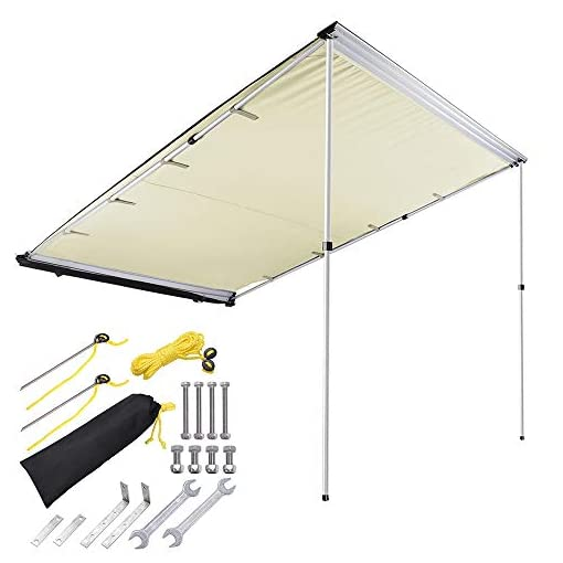 Yescom-66×82-Car-Side-Awning-Rooftop-Pull-Out-Tent-Shelter-PU2000mm-UV50-Shade-SUV-Outdoor-Camping-Travel-Beige