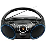 SINGING WOOD Portable CD Player AM FM Analog Tuning Radio with Aux Line in, Headphone Jack, Foldable Carrying Handle (Black with a Touch of Blue Rims)