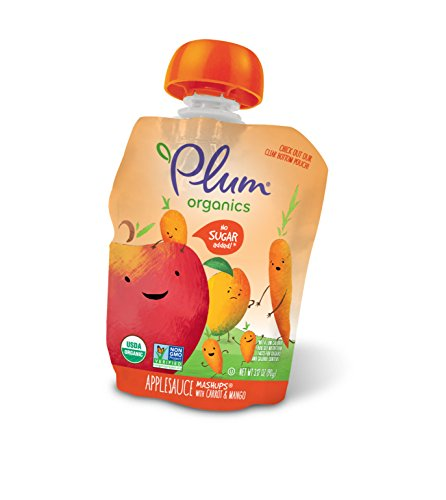 Plum Organics Mashups, Organic Kids Applesauce, Carrot & Mango, 3.17 Oz , 4 count (Pack of 6)