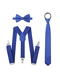 Boys Suspender Bowtie Necktie Sets - Accessories Set For Boys Kids Outfit (Royal Blue)