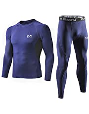 MEETYOO Men's Sport Base Layer Set, Mesh-Side Cool Dry Workout Fitness Long Sleeves Shirt and Pants, Compression Long Johns