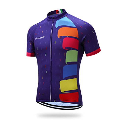 Runmaner Coconut Men's Cycling Jersey Short Sleeve Road Bike Biking Shirt Bicycle Clothes – Breathable and Quick-Dry (Purple, L)