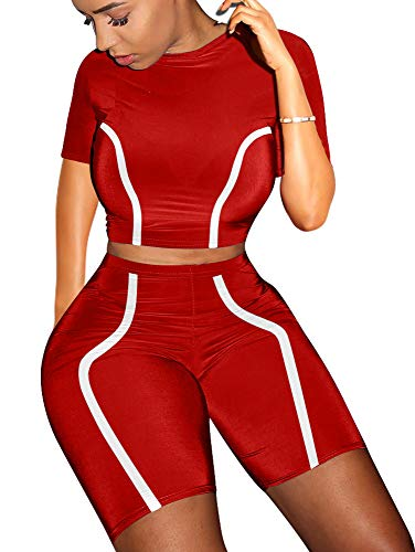 GOKATOSAU Women's Sexy Two Piece Outfit High Collar Short Sleeve Crop Top Bodycon Shorts Tracksuits Red