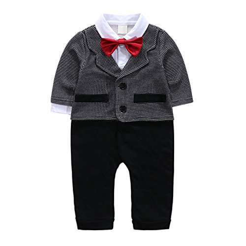 Baby Boy Short Sleeve With Bowtie Checked Gentleman Romper Toddler Outfit Clothing Set 1pcs Jumpsuit (Label 70 / 3-6 Months, Long (Cheap Santa Outfit)