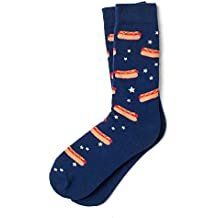 Hot Dog Dreams Navy Blue Carded Cotton Sock