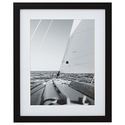 Modern Black and White Nautical Sailboat at Sea Photo Wall Art Décor - 18 x 22 Inch Frame, Black ()