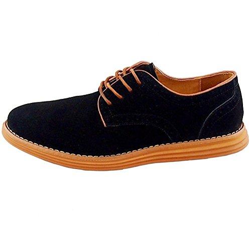 TOOGOO(R) NEUF 2014 Daim Style Europeen Chaussures en Cuir Hommes oxfords Casual 999 Noir Taille UK7 EU39