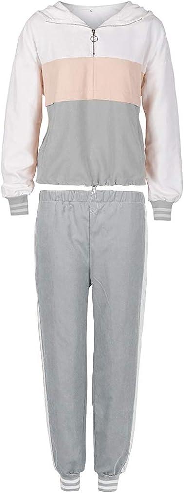 con cappuccio e pantaloni lunghi felpa con cappuccio e zip con cuciture colorate Tuta sportiva da donna 2 pezzi Sunnykud