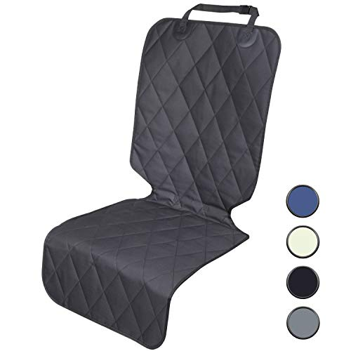 (Vivaglory Dog Seat Covers for Front Seat with No-Skirt Design, Quilted & Durable 600 Denier Oxford 4 Layers Pet Seat Protectors with Anti-Slip Backing for Most Cars, SUVs & MPVs, Black)