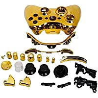Wireless Controller Shell Case Bumper Thumbsticks Buttons Game for Xbox 360 -Gold